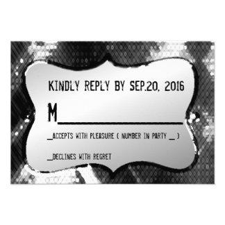 Artistic Modern Chic Trendy Sequins Response Card Custom Invite