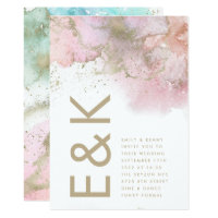 Artistic Modern Foil Watercolor Monogram Wedding Invitation