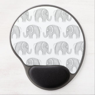 Artistic modern gray white watercolor  elephant gel mouse pad