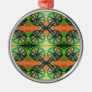 Artistic Modern Orange Green Vintage Bike Wheels Metal Ornament
