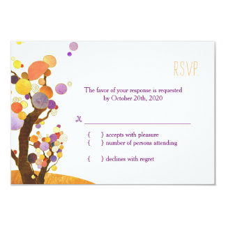 Artistic, Modern Trees Fall Wedding RSVP Card