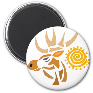 Artistic Moose and Sun Abstract Art Magnet