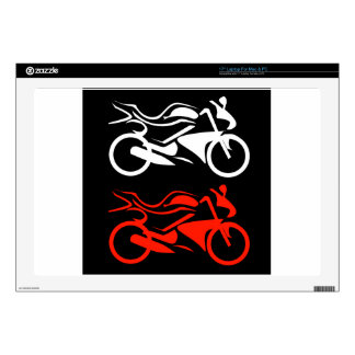 "Artistic motorbike graphic 17"" laptop decals"