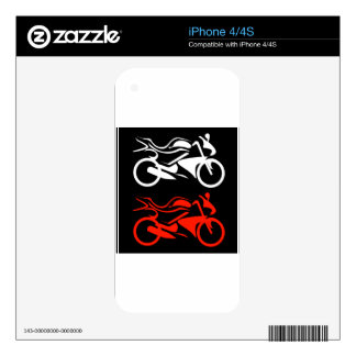 Artistic motorbike graphic skins for the iPhone 4