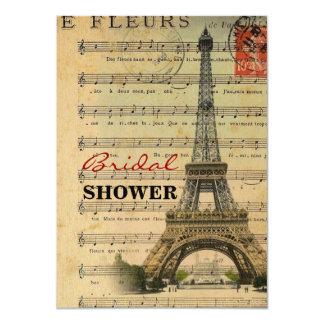 Artistic music notes Paris Eiffel Tower Card