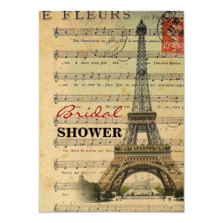 Artistic music notes Paris Eiffel Tower Custom Announcements