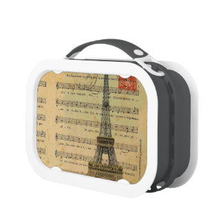 Artistic music notes Paris Eiffel Tower Lunch Boxes