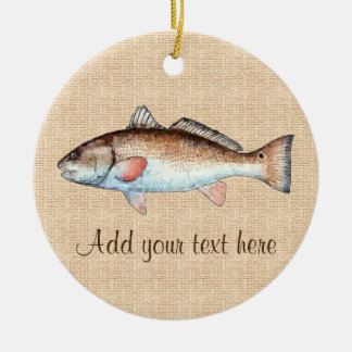 Artistic Natural Redfish Ceramic Ornament