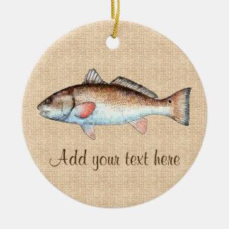Artistic Natural Redfish Ceramic Ornament