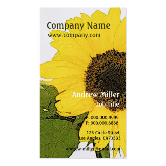 Artistic Nature l Single Morning Dew Sunflower Business Cards