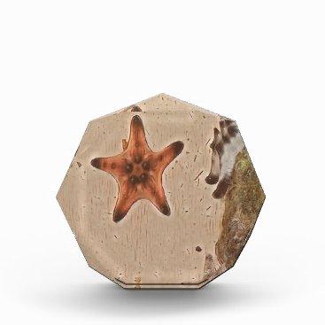 Beach Themed Artistic Neutral Tans Starfish On Sand Acrylic Award