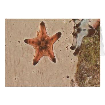 Beach Themed Artistic Neutral Tans Starfish On Sand Card