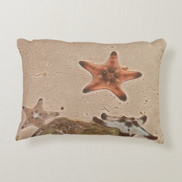 Beach Themed Artistic Neutral Tans Starfish On Sand Decorative Pillow