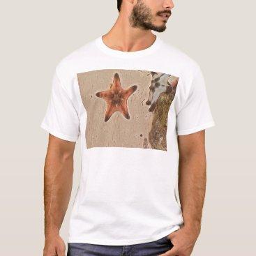 Beach Themed Artistic Neutral Tans Starfish On Sand T-Shirt