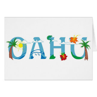 Artistic Oahu Hawaii word art Card