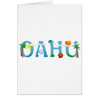 Artistic Oahu Hawaii word art greeting card