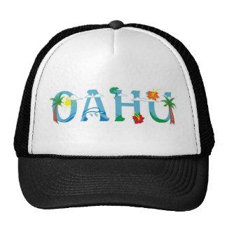 Artistic Oahu Hawaii word art Mesh Hats