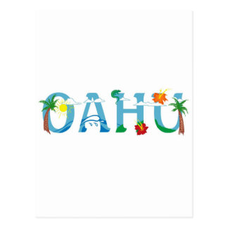 Artistic Oahu Hawaii word art Postcard