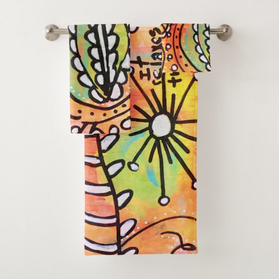 Artistic Orange Floral Flowers Lime Green Modern Bath Towel Set