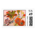 Artistic orange Orchid Stamp