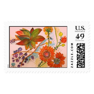 Artistic orange Orchid Stamp