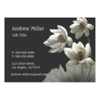 Artistic Oriental Lotus Blossoms Waterlilies Large Business Card