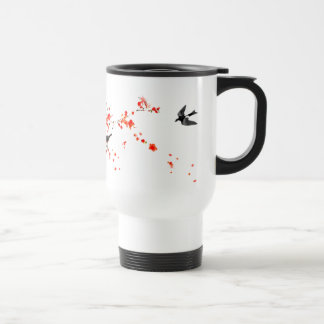 Artistic Oriental Swallow Birds in Cherry Blossoms Mugs