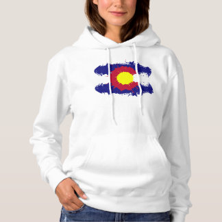Artistic paint splatter Colorado flag hoodie