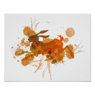 Artistic Paint Splatter Mad March Hare Poster