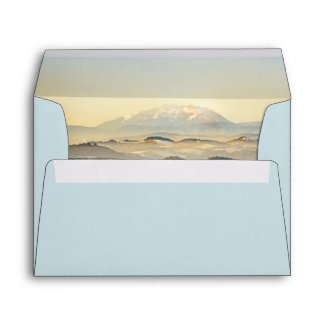 Artistic Painted Mountain Landscape Wedding Envelope