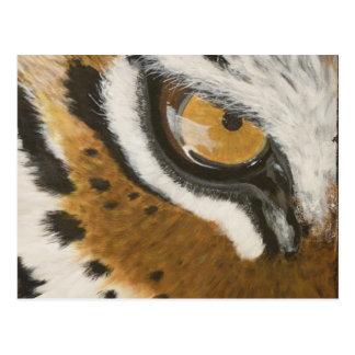 Artistic painted tiger's eye design postcard