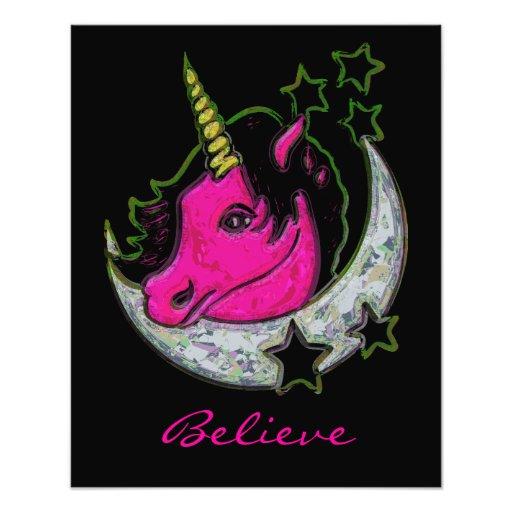 Artistic Painted Unicorn On Moon With Stars Photo Art