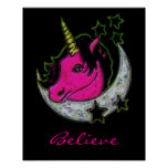 Artistic Painted Unicorn On Moon With Stars Poster