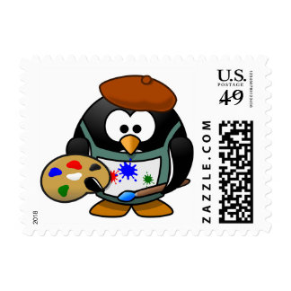 Artistic Painter Penguin with Brush Stamp