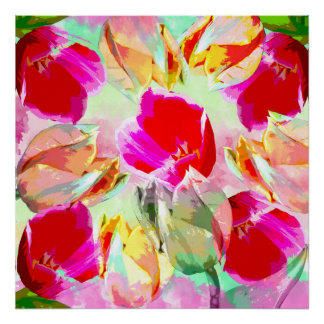 Artistic painterly spring design with Tulips poste Poster