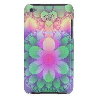 Artistic Pastel Flower Heart and Monogram Barely There iPod Cases