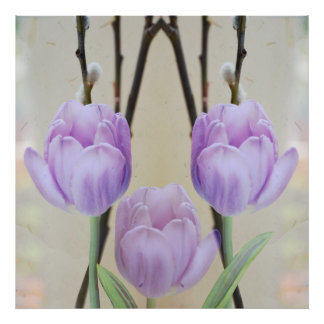Artistic Pastel Spring Tulips Poster