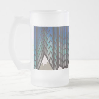 Artistic Pattern Blue Rainy Shaped Mountains Print Frosted Glass Beer Mug