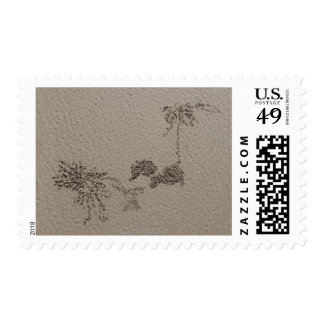 Artistic patterns made by Ghost Crabs  on Four Postage Stamp