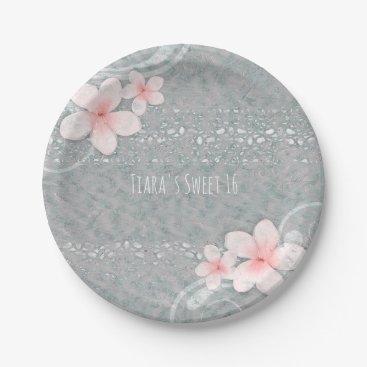 Beach Themed Artistic Peach Hibiscus Beach Tropical Party Paper Plate