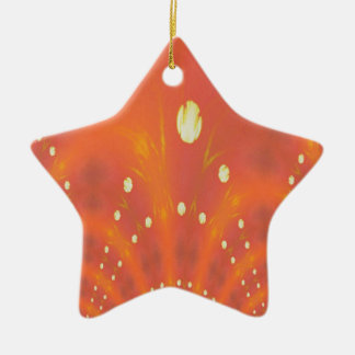 Artistic Peach Yellow Suns Fantasy Worlds Ceramic Ornament