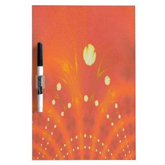 Artistic Peach Yellow Suns Fantasy Worlds Dry Erase Board