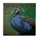 Artistic peacock decorative ceramic tile