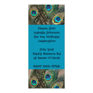 "Artistic Peacock Feather Birthday 4"" X 9.25"" Invitation Card"