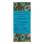 Artistic Peacock Wedding Program 4x9.25 Paper Invitation Card