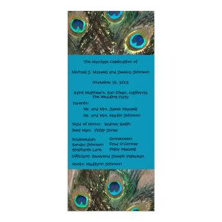 "Artistic Peacock Wedding Program 4"" X 9.25"" Invitation Card"