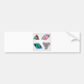 Artistic pen rose triangles car bumper sticker