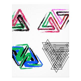 Artistic pen rose triangles letterhead