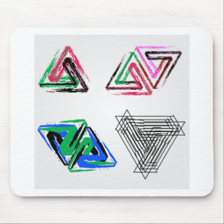 Artistic pen rose triangles mouse pad