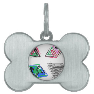 Artistic pen rose triangles pet ID tag